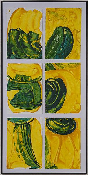 Gelb 132 - 50x100 Acryl auf Papier je 6 Bilder 20x30