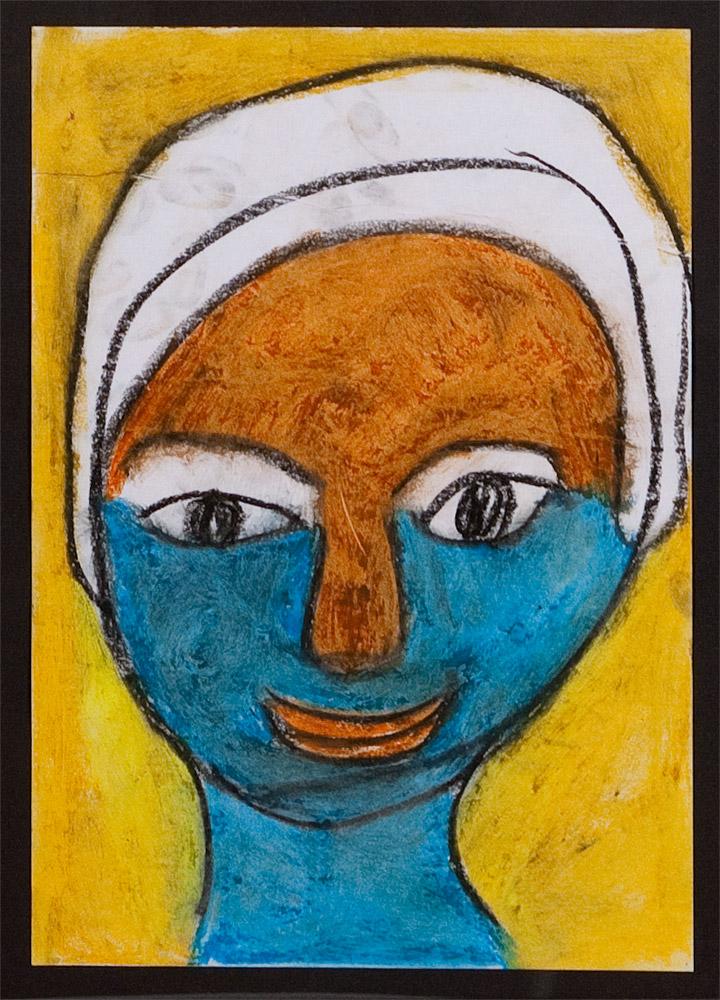 Gesichter 010-8 - 21x30 Ölkreide auf Papier