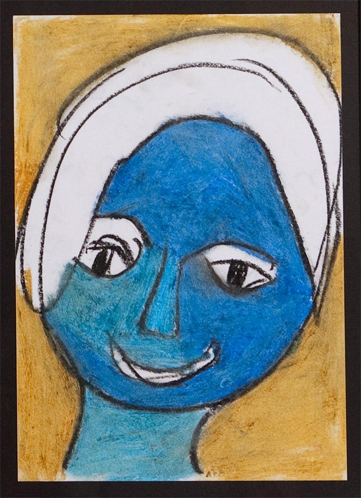 Gesichter 010-9 - 21x30 Ölkreide auf Papier