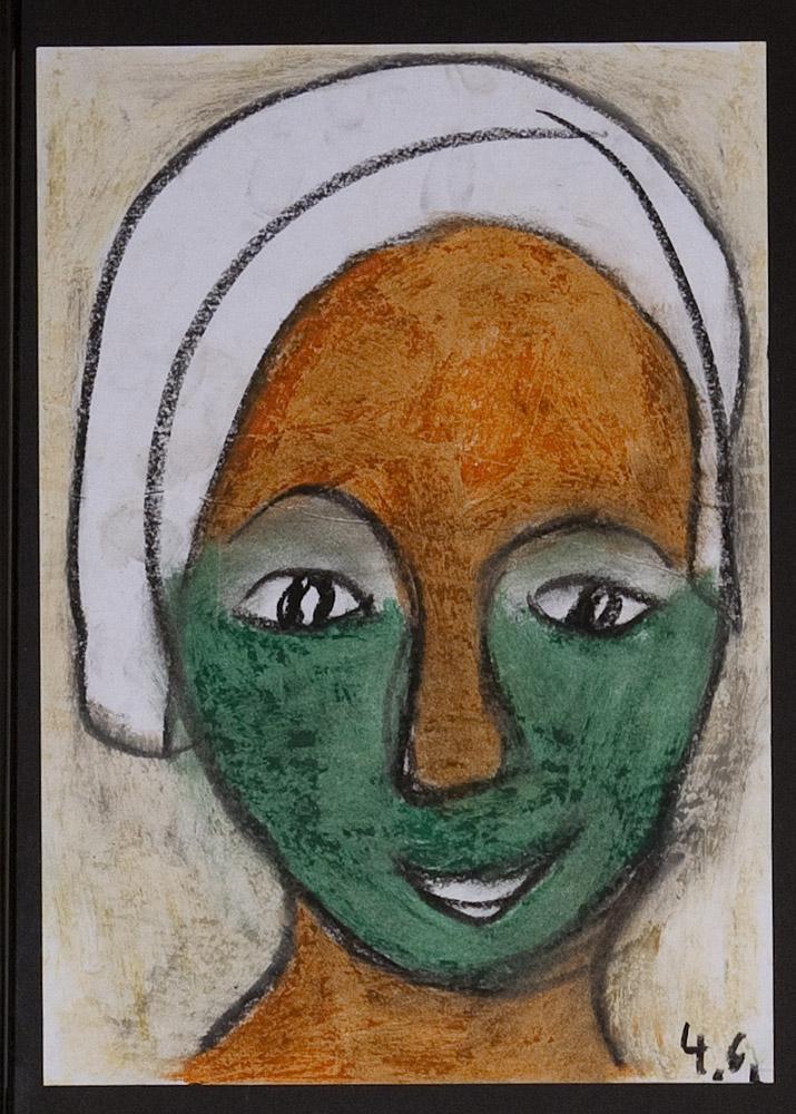 Gesichter 010-1 - 21x30 Ölkreide auf Papier