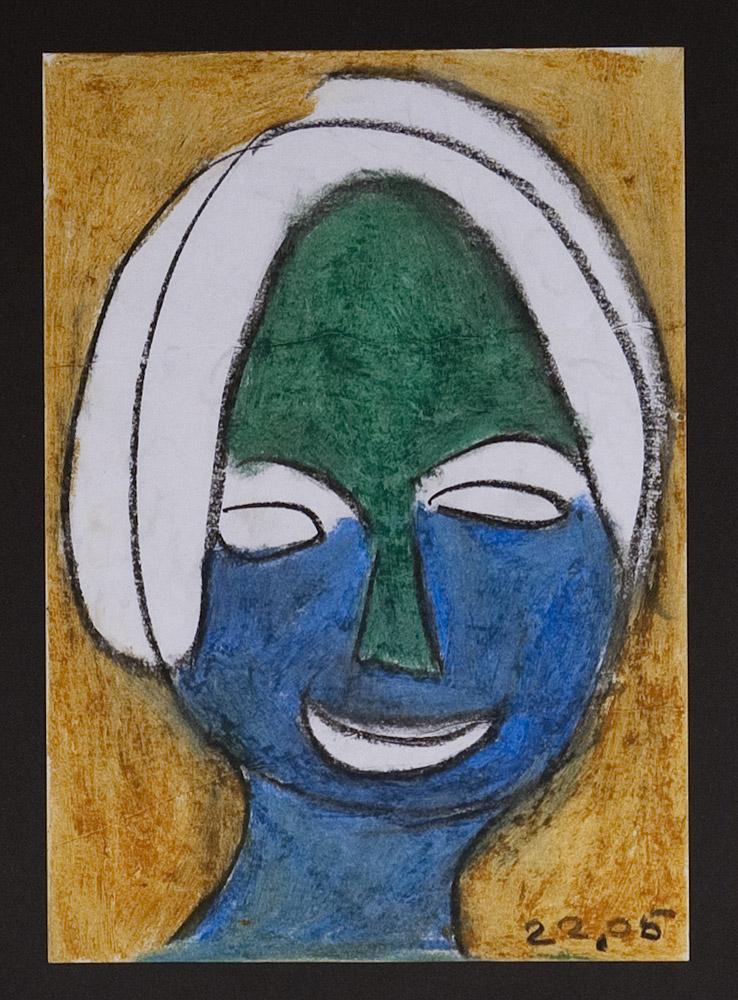 Gesichter 010-2 - 21x30 Ölkreide auf Papier