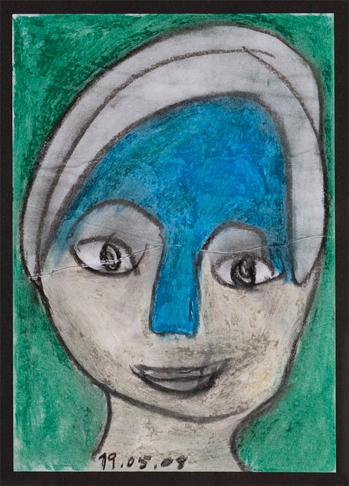 Gesichter 010-5 - 21x30 Ölkreide auf Papier