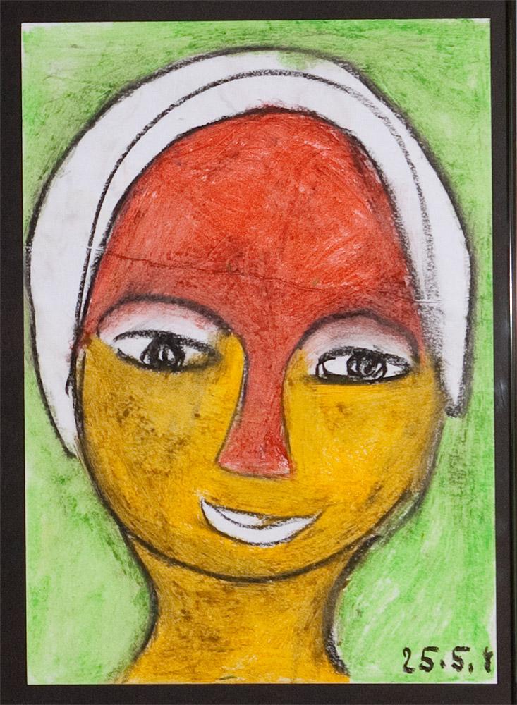 Gesichter 010-6 - 21x30 Ölkreide auf Papier