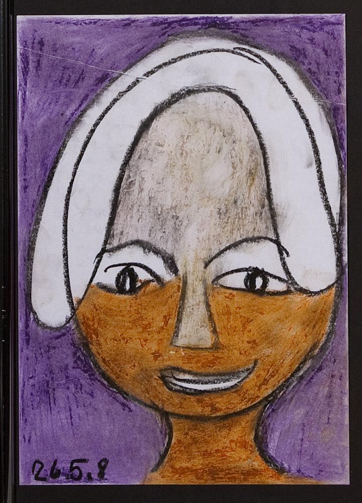 Gesichter 010-7 - 21x30 Ölkreide auf Papier