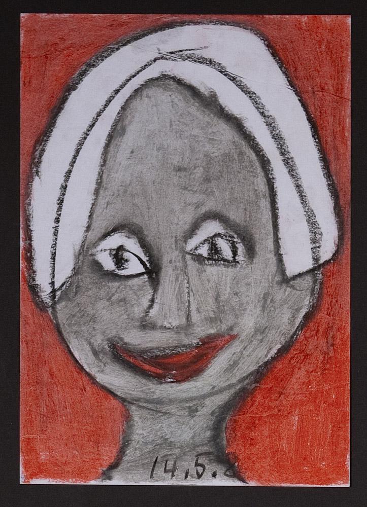 Gesichter 020-1 - 21x30 Ölkreide auf Papier