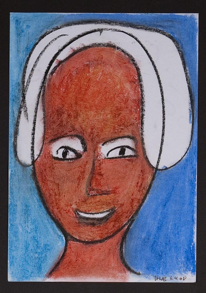 Gesichter 020-2 - 21x30 Ölkreide auf Papier