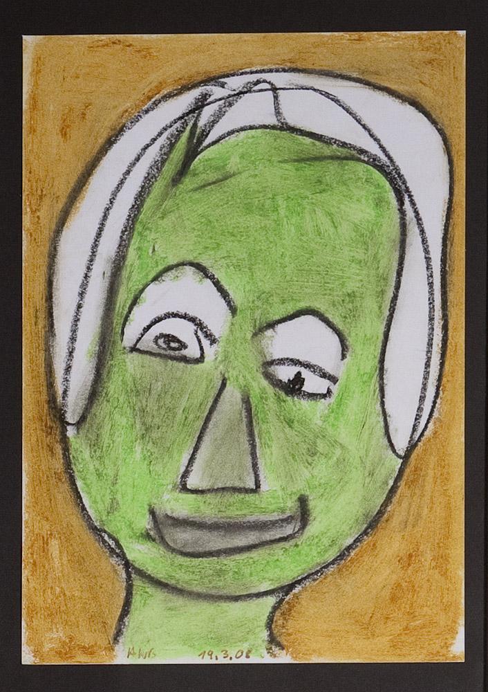 Gesichter 020-3 - 21x30 Ölkreide auf Papier