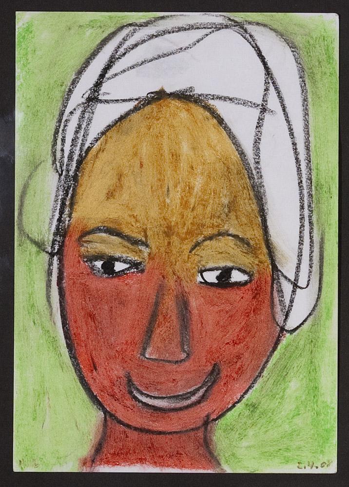 Gesichter 020-4 - 21x30 Ölkreide auf Papier