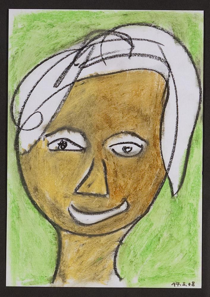 Gesichter 020-5 - 21x30 Ölkreide auf Papier