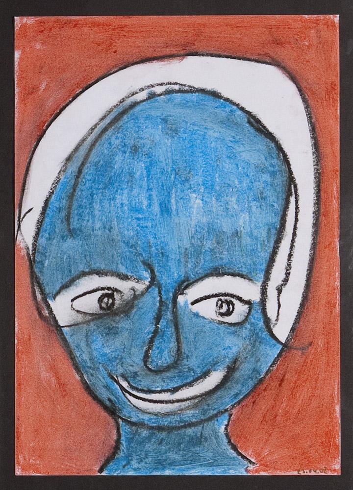 Gesichter 020-6 - 21x30 Ölkreide auf Papier