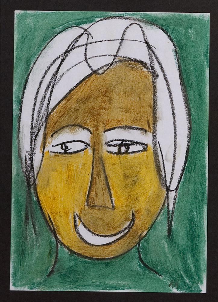 Gesichter 020-7 - 21x30 Ölkreide auf Papier
