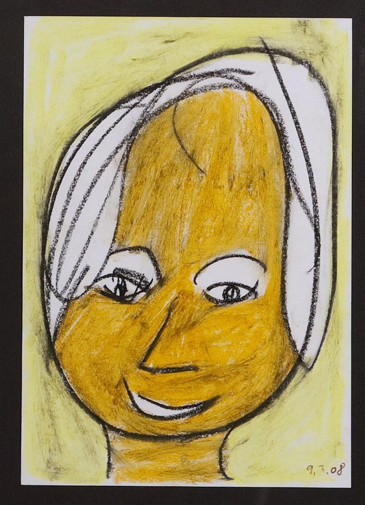 Gesichter 020-8 - 21x30 Ölkreide auf Papier