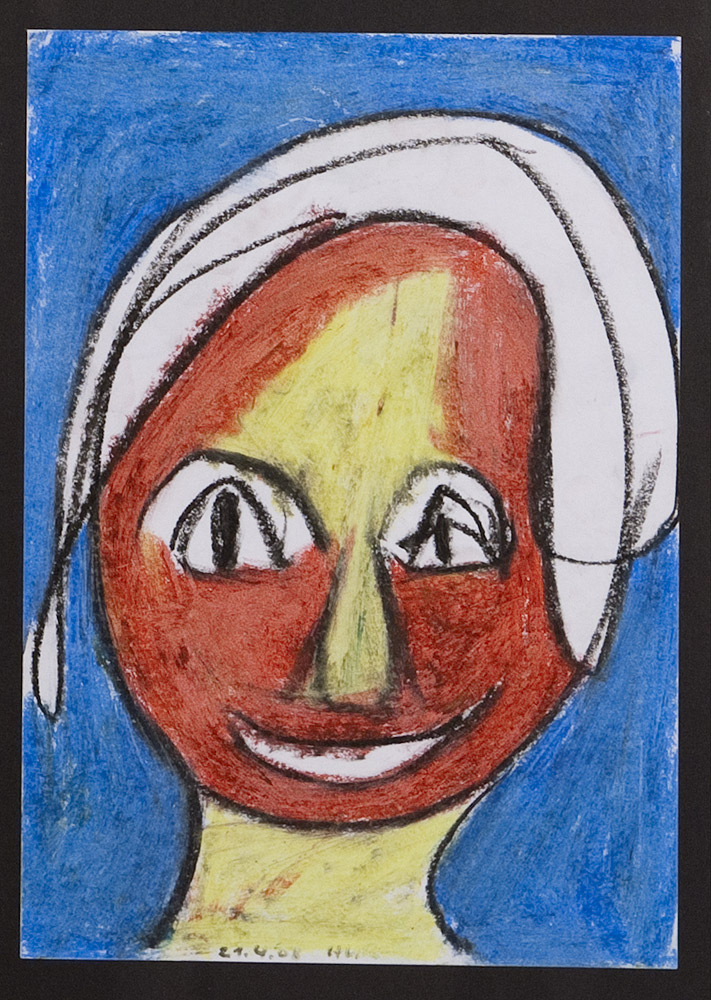 Gesichter 020-9 - 21x30 Ölkreide auf Papier