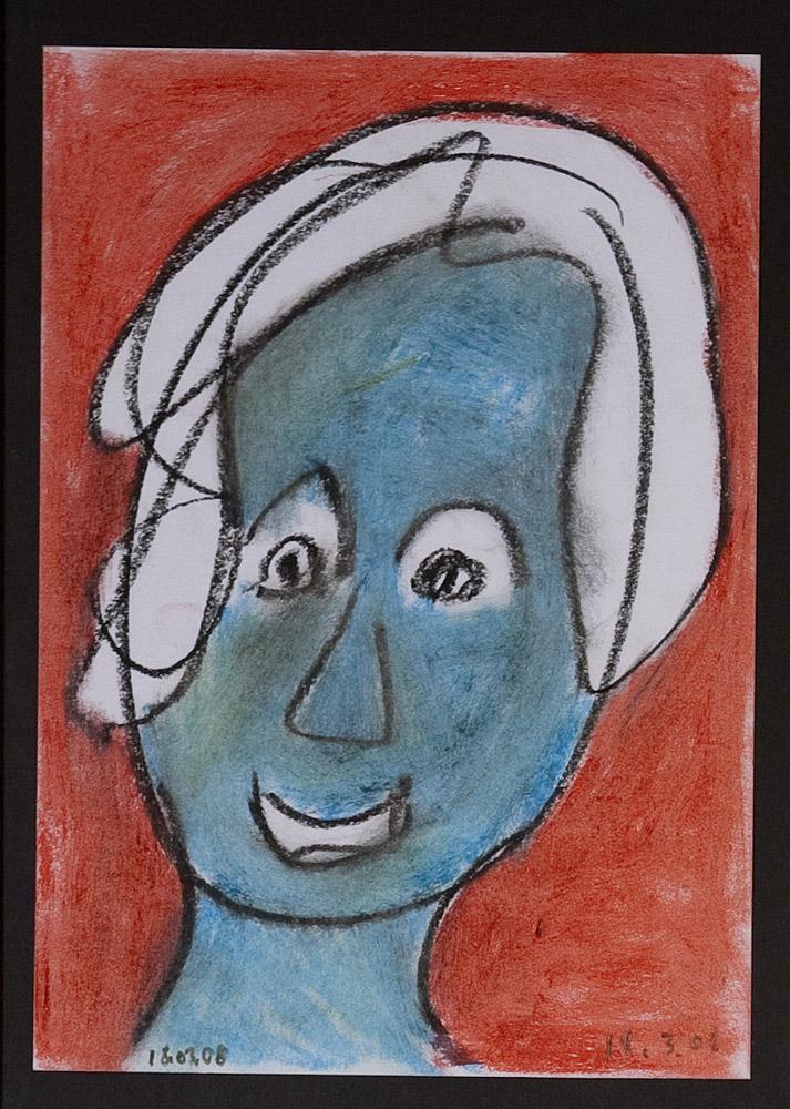 Gesichter 030-1 - 21x30 Ölkreide auf Papier