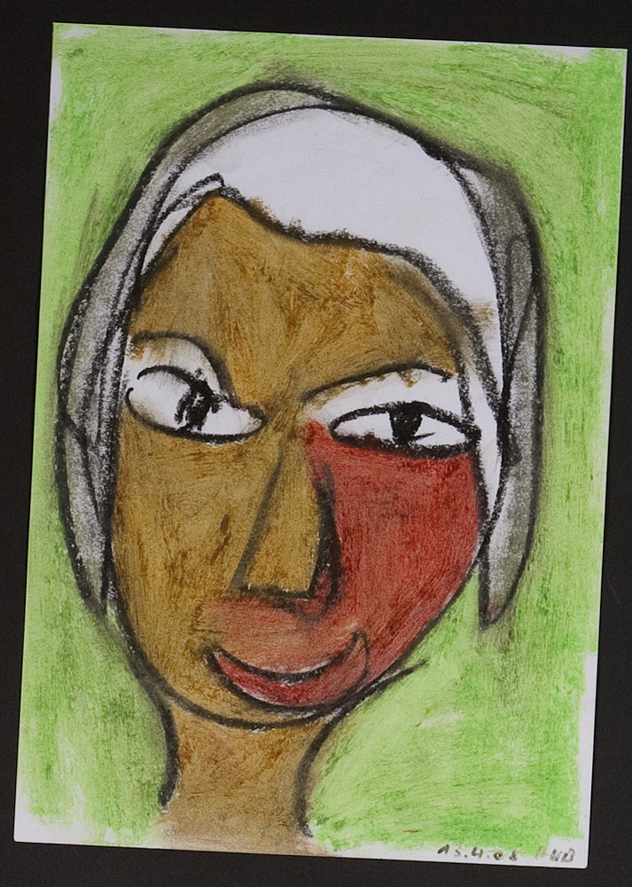 Gesichter 030-2 - 21x30 Ölkreide auf Papier