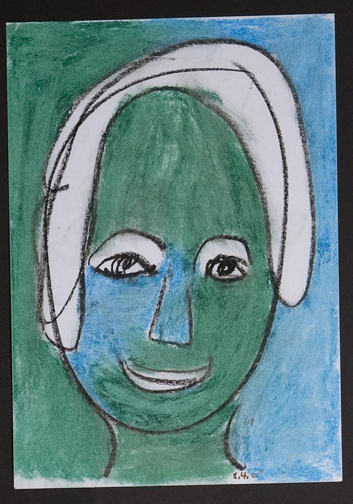 Gesichter 030-3 - 21x30 Ölkreide auf Papier