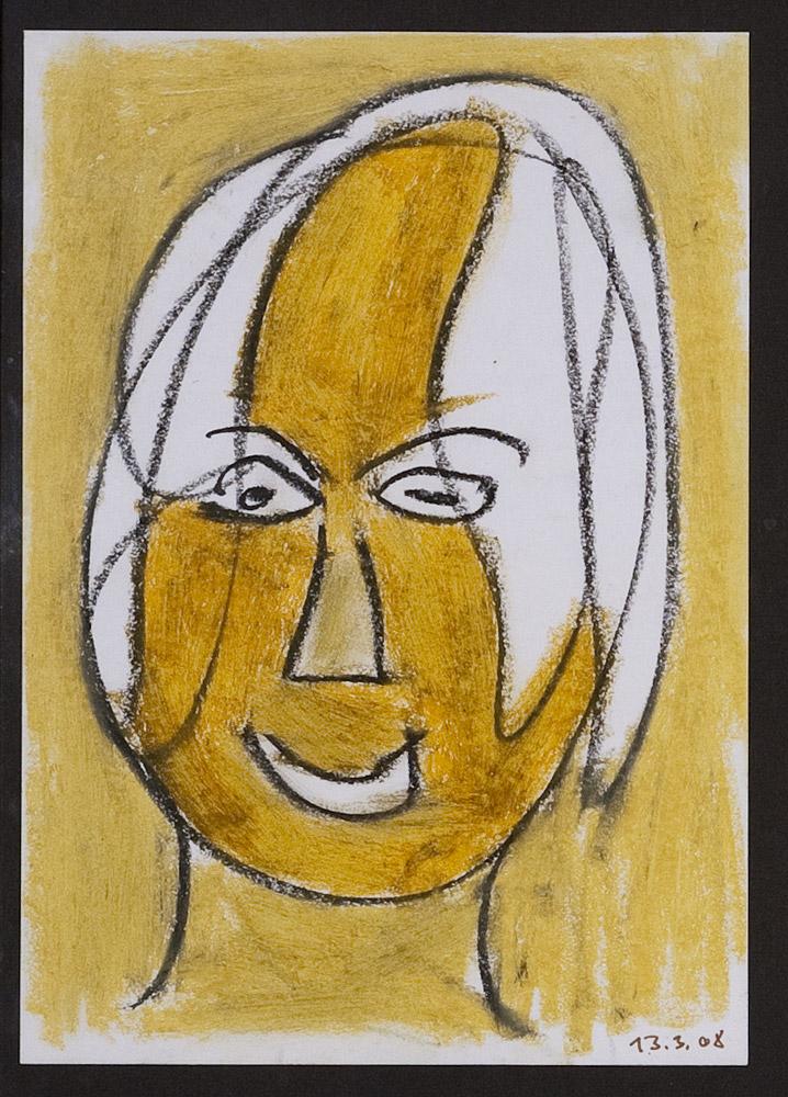 Gesichter 030-4 - 21x30 Ölkreide auf Papier