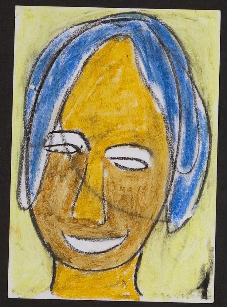 Gesichter 030-5 - 21x30 Ölkreide auf Papier