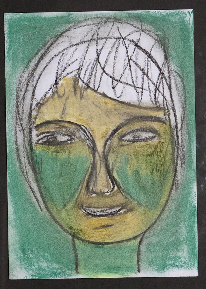 Gesichter 030-6 - 21x30 Ölkreide auf Papier