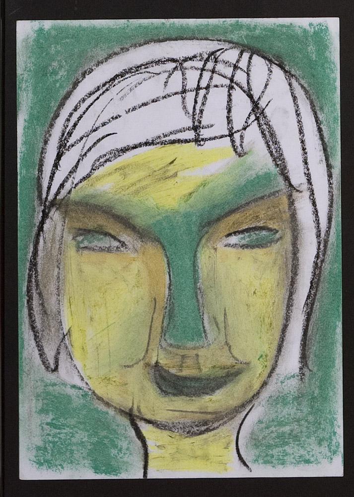Gesichter 030-7 - 21x30 Ölkreide auf Papier