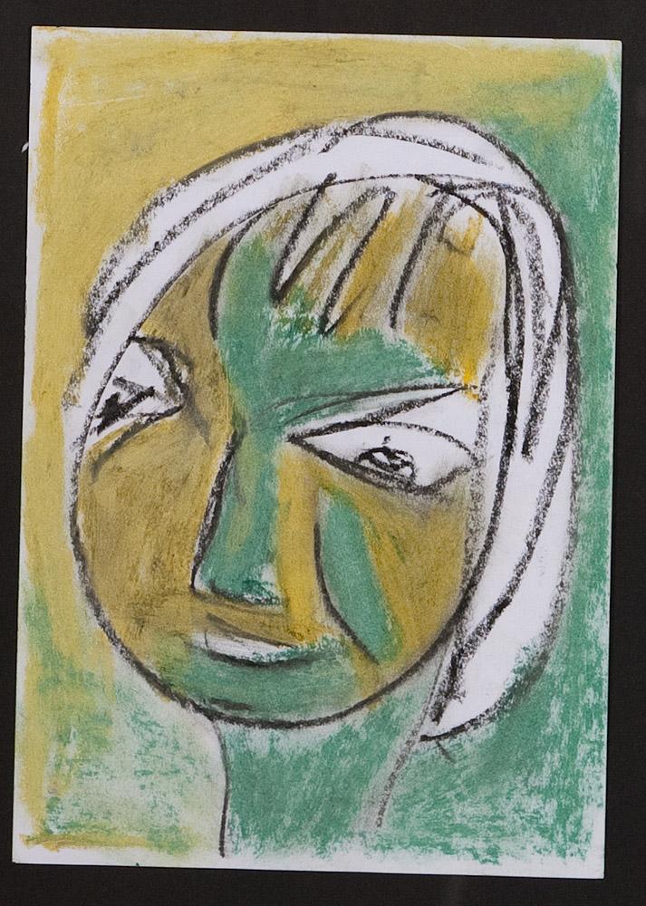 Gesichter 030-8 - 21x30 Ölkreide auf Papier