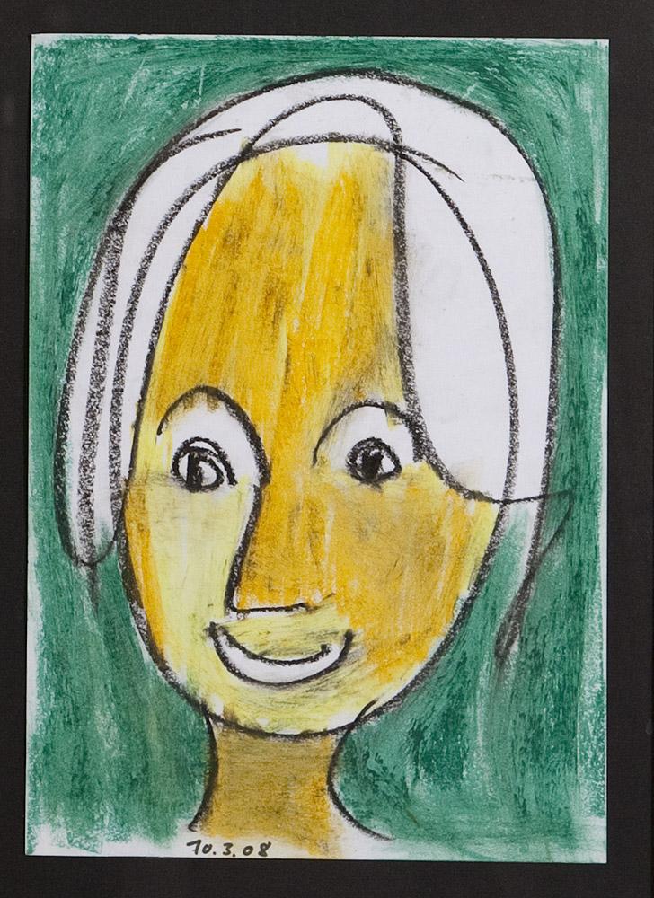 Gesichter 030-9 - 21x30 Ölkreide auf Papier