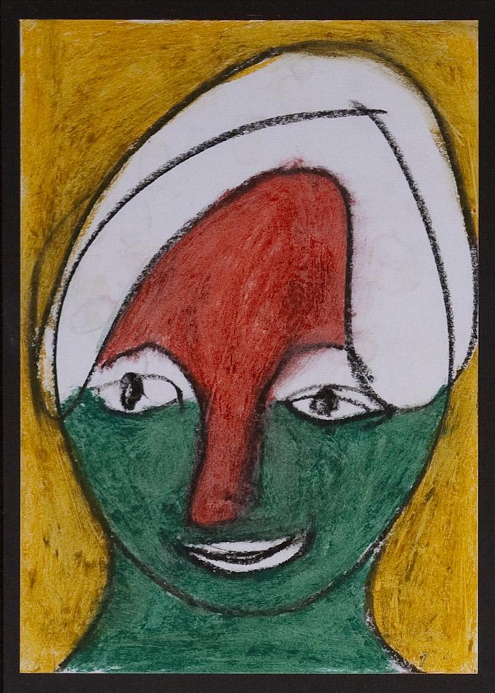 Gesichter 040-1 - 21x30 Ölkreide auf Papier