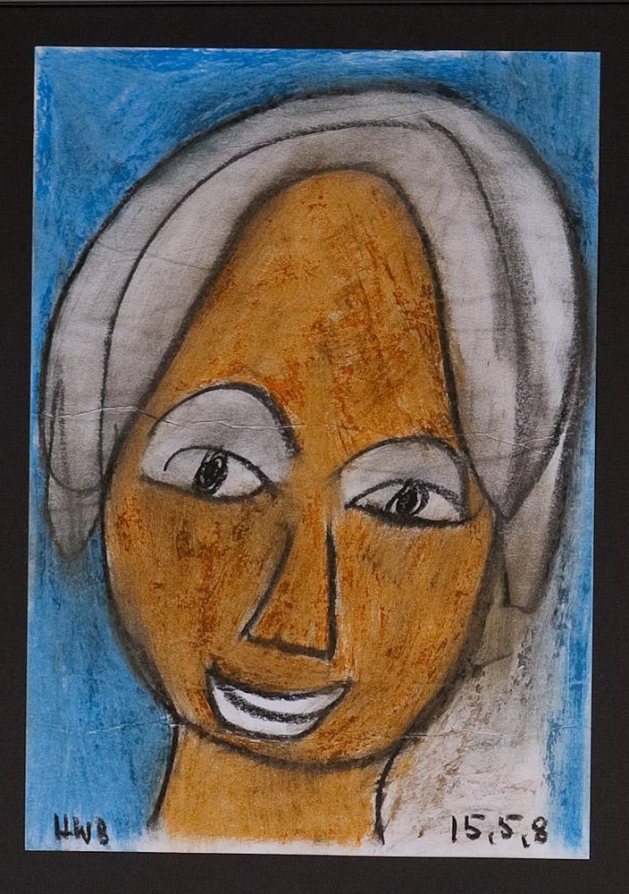Gesichter 040-2 - 21x30 Ölkreide auf Papier