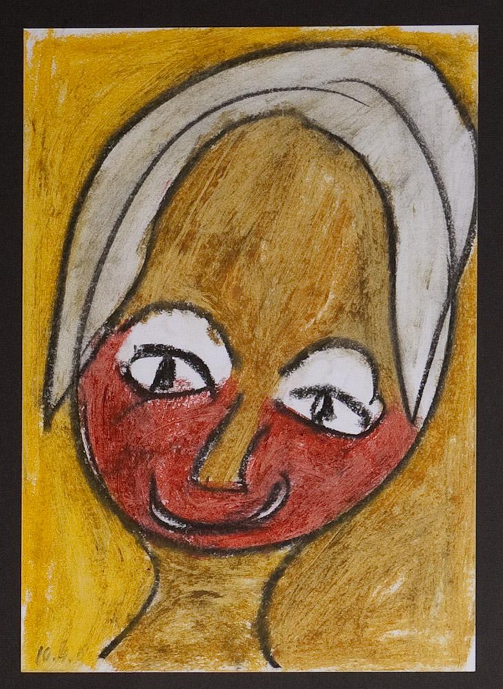 Gesichter 040-3 - 21x30 Ölkreide auf Papier