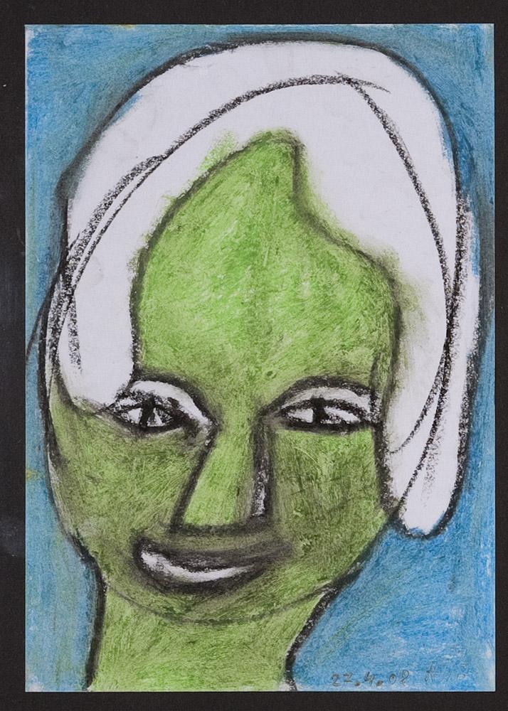 Gesichter 040-4 - 21x30 Ölkreide auf Papier