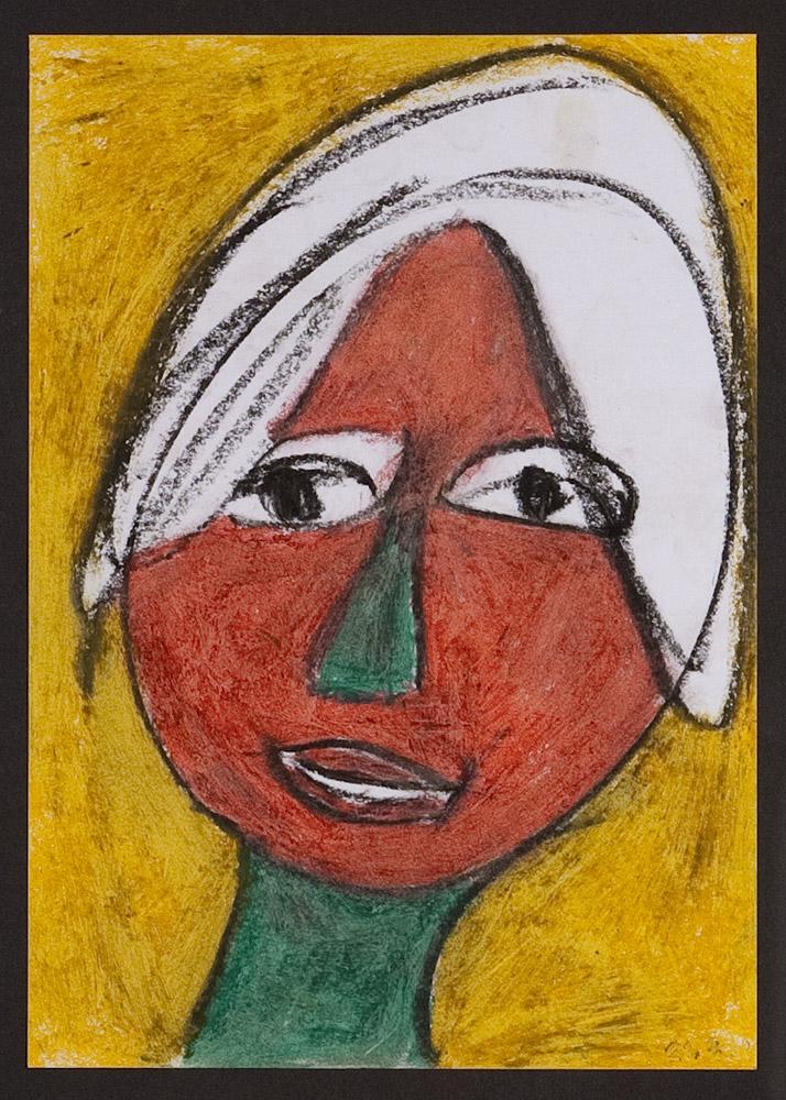 Gesichter 040-5 - 21x30 Ölkreide auf Papier