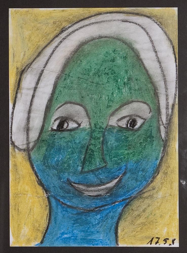 Gesichter 040-6 - 21x30 Ölkreide auf Papier