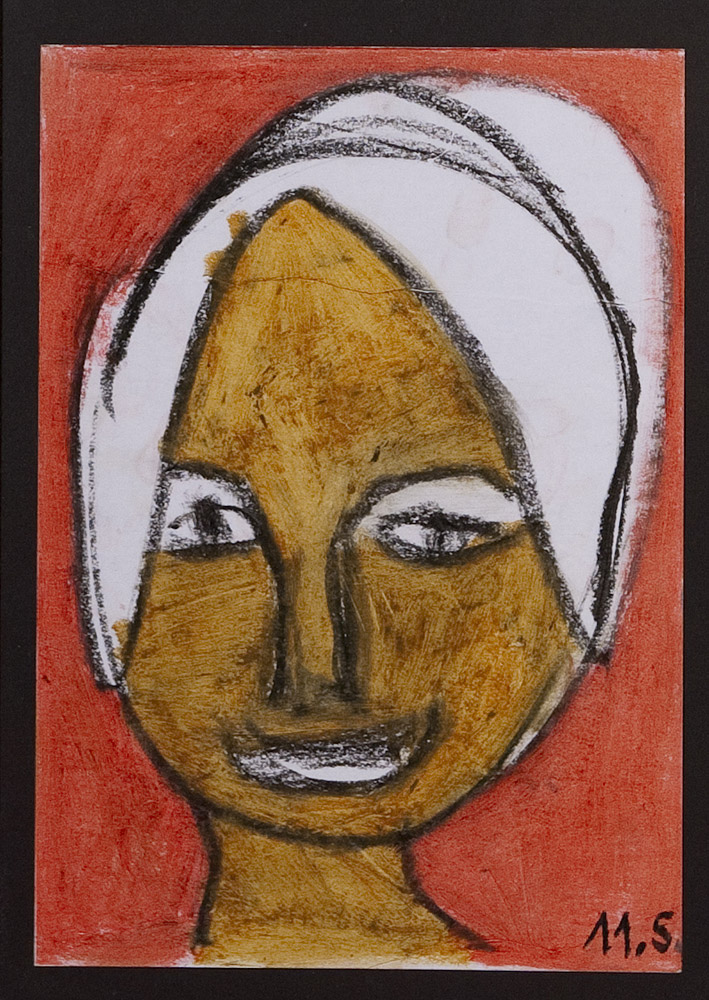 Gesichter 040-7 - 21x30 Ölkreide auf Papier