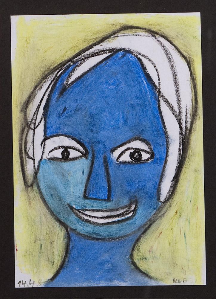 Gesichter 040-8 - 21x30 Ölkreide auf Papier