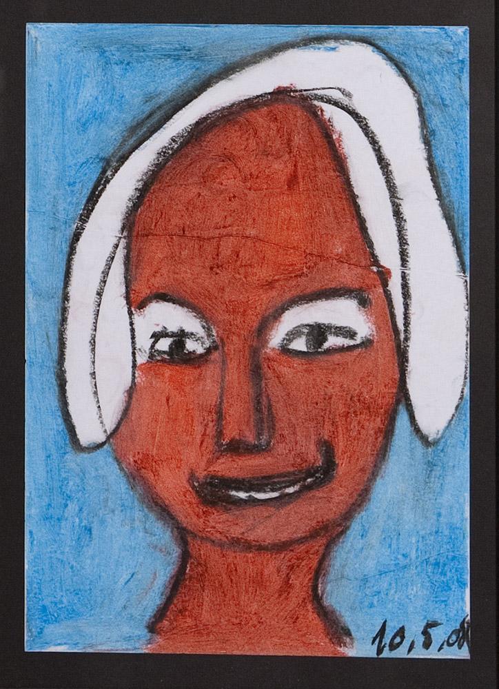 Gesichter 040-9 - 21x30 Ölkreide auf Papier