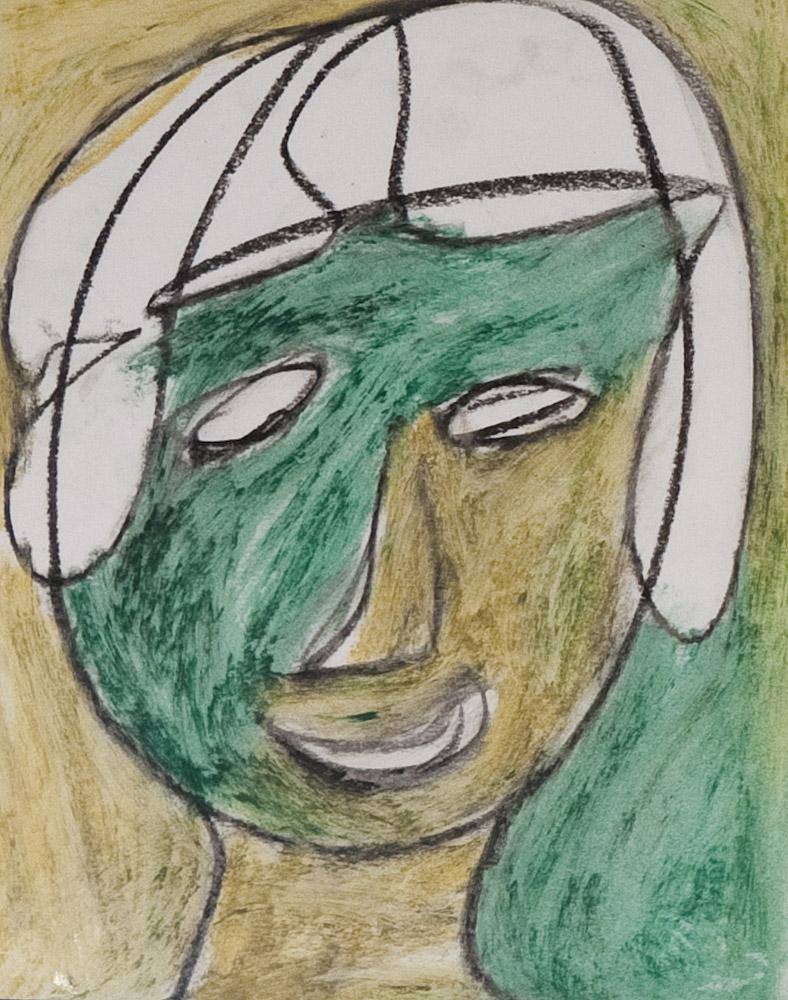 Gesichter 051-1 - 21x24 Ölkreide auf Papier