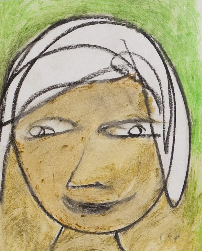 Gesichter 051-10 - 21x24 Ölkreide auf Papier