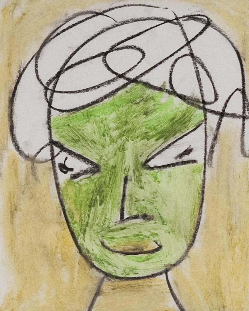 Gesichter 051-2 - 21x24 Ölkreide auf Papier