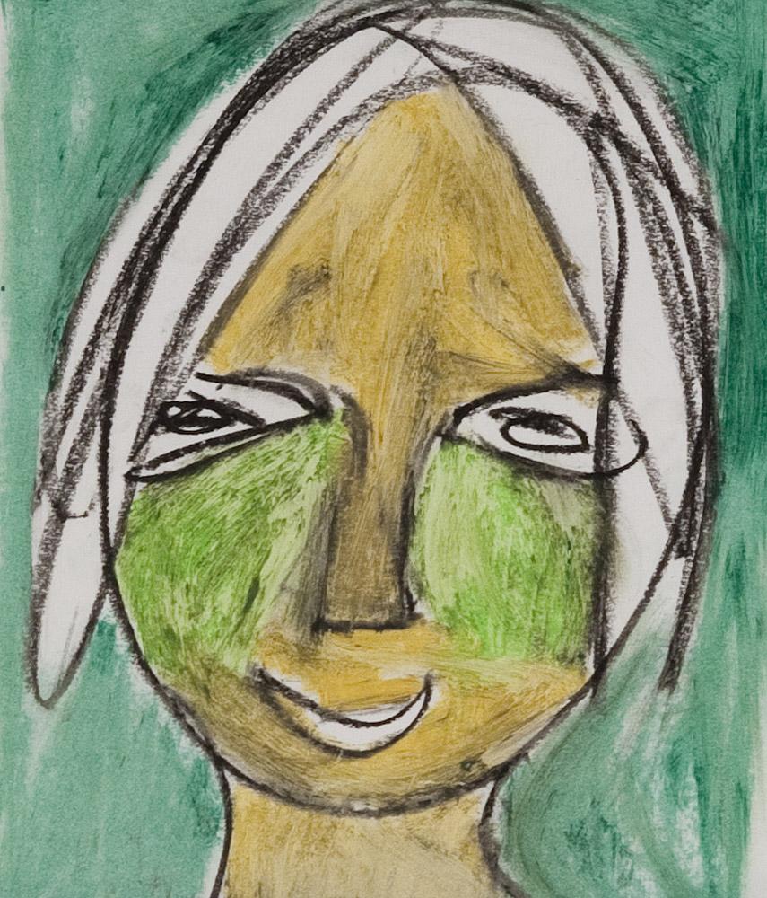 Gesichter 051-3 - 21x24 Ölkreide auf Papier