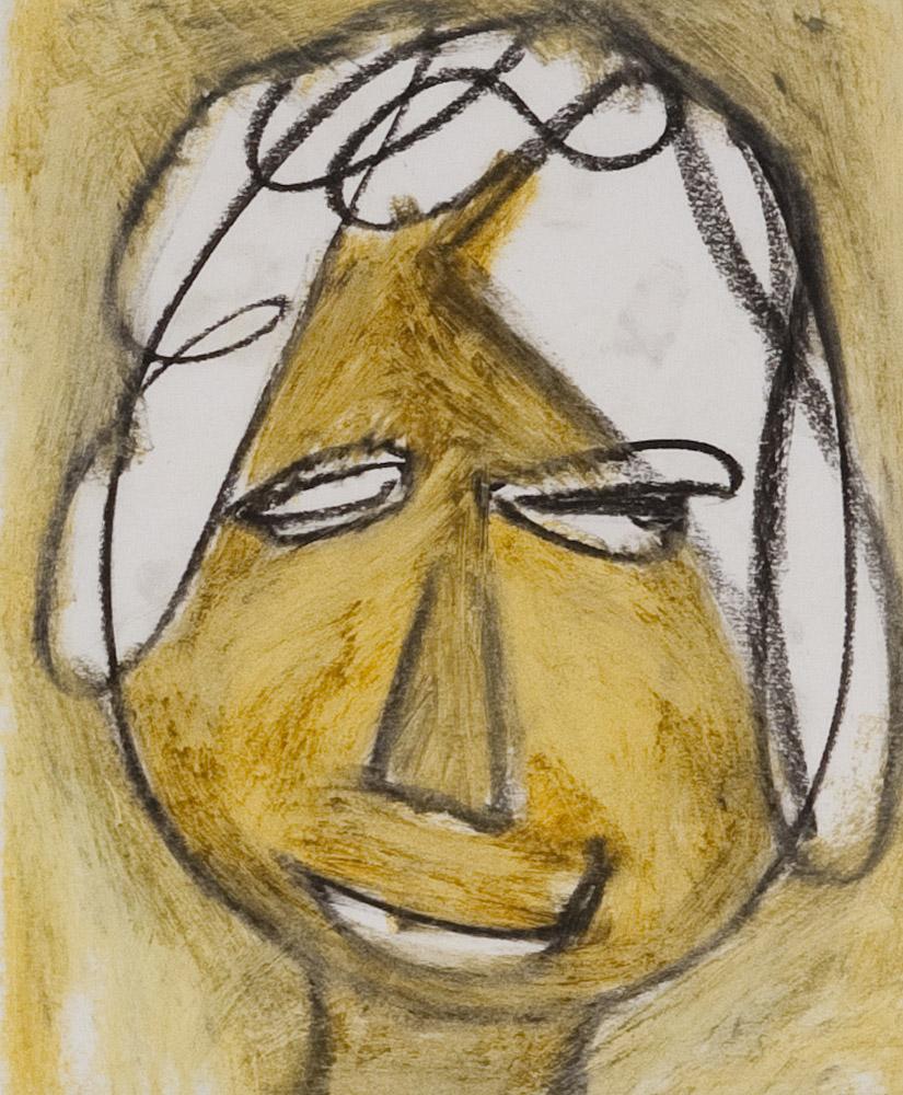 Gesichter 051-4 - 21x24 Ölkreide auf Papier
