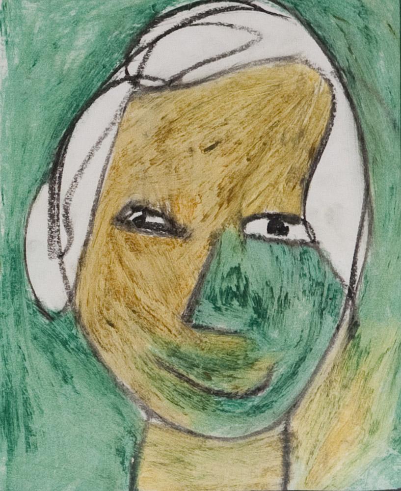 Gesichter 051-5 - 21x24 Ölkreide auf Papier