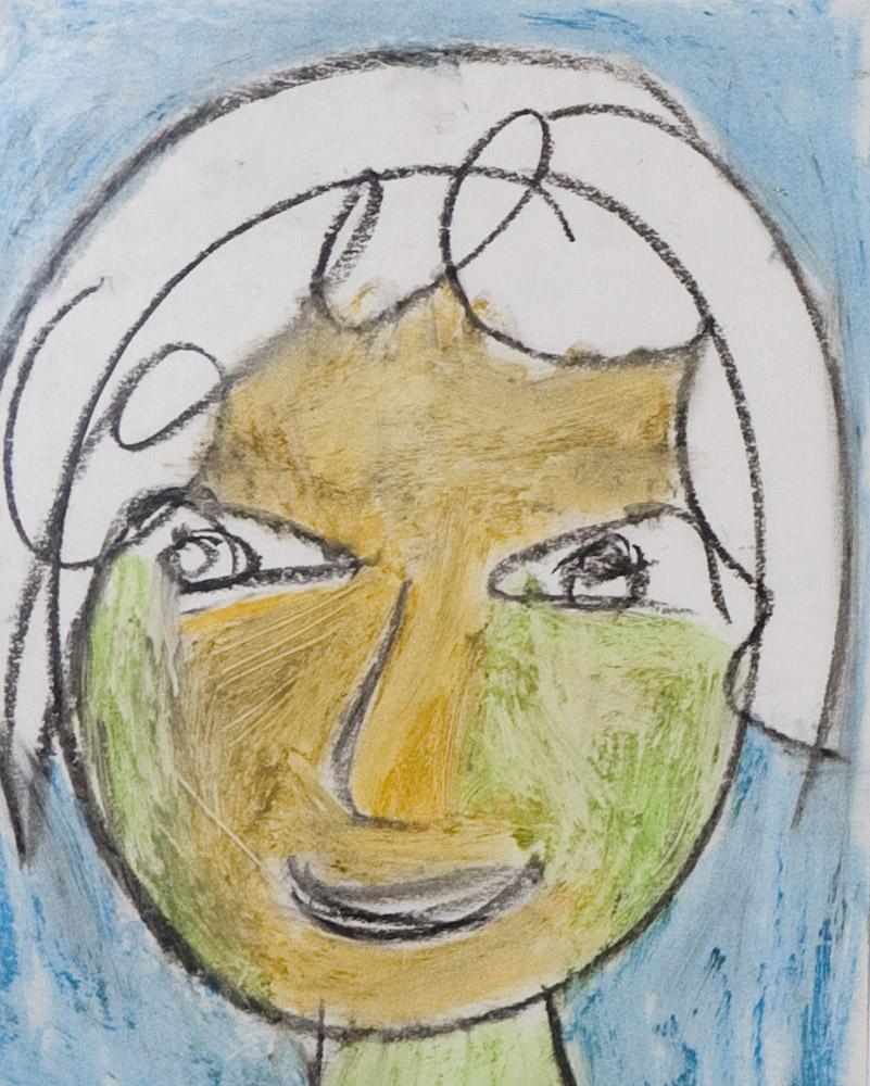 Gesichter 051-6 - 21x24 Ölkreide auf Papier