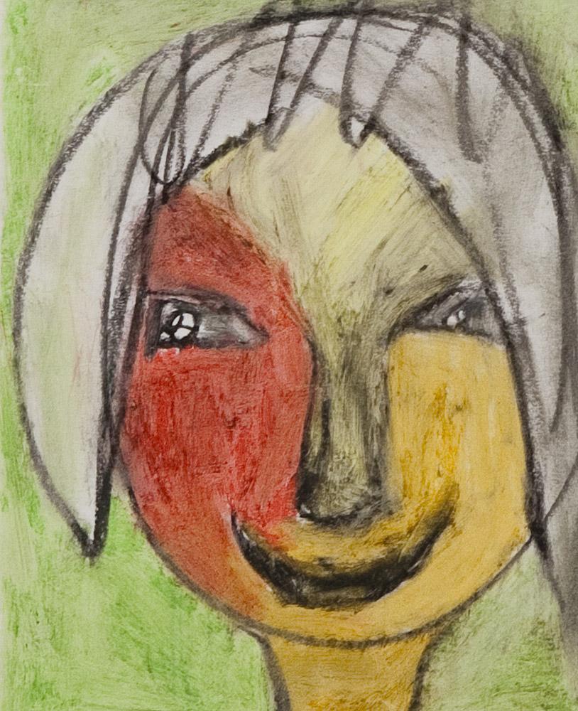 Gesichter 051-7 - 21x24 Ölkreide auf Papier