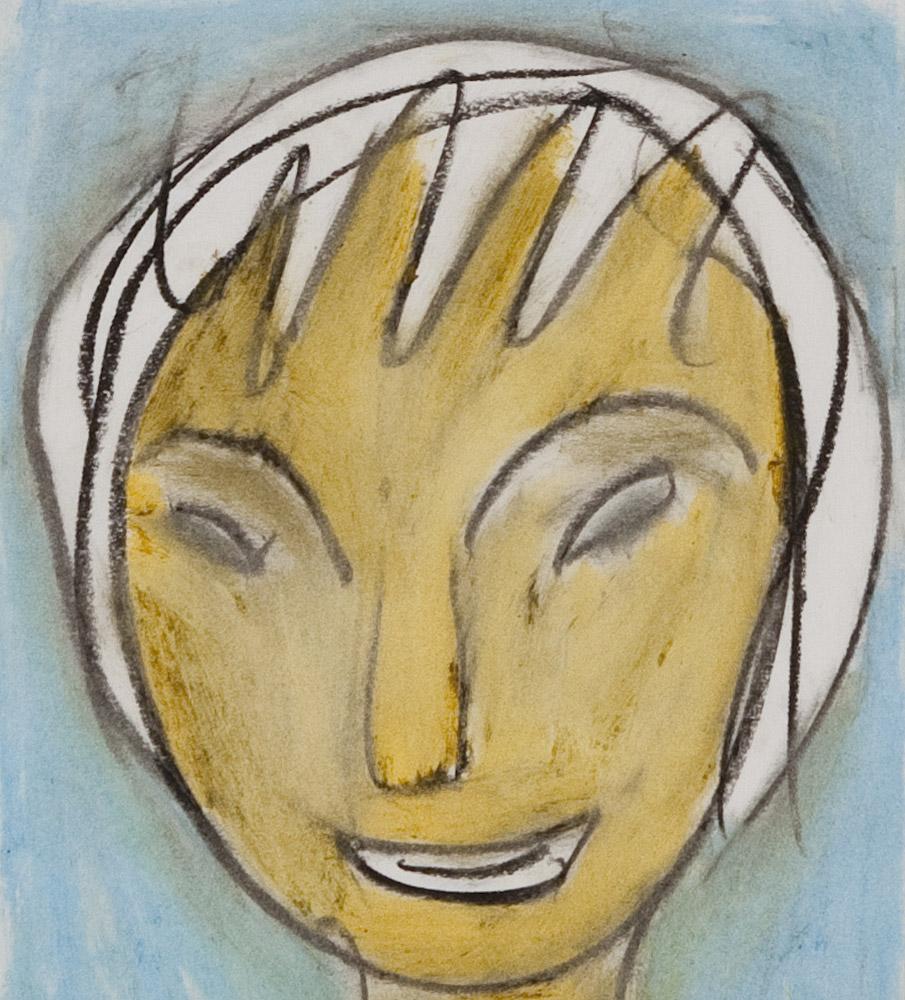 Gesichter 051-8 - 21x24 Ölkreide auf Papier