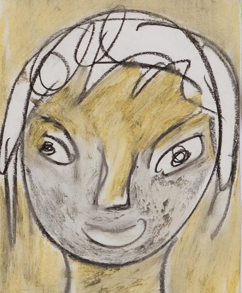 Gesichter 051-9 - 21x24 Ölkreide auf Papier