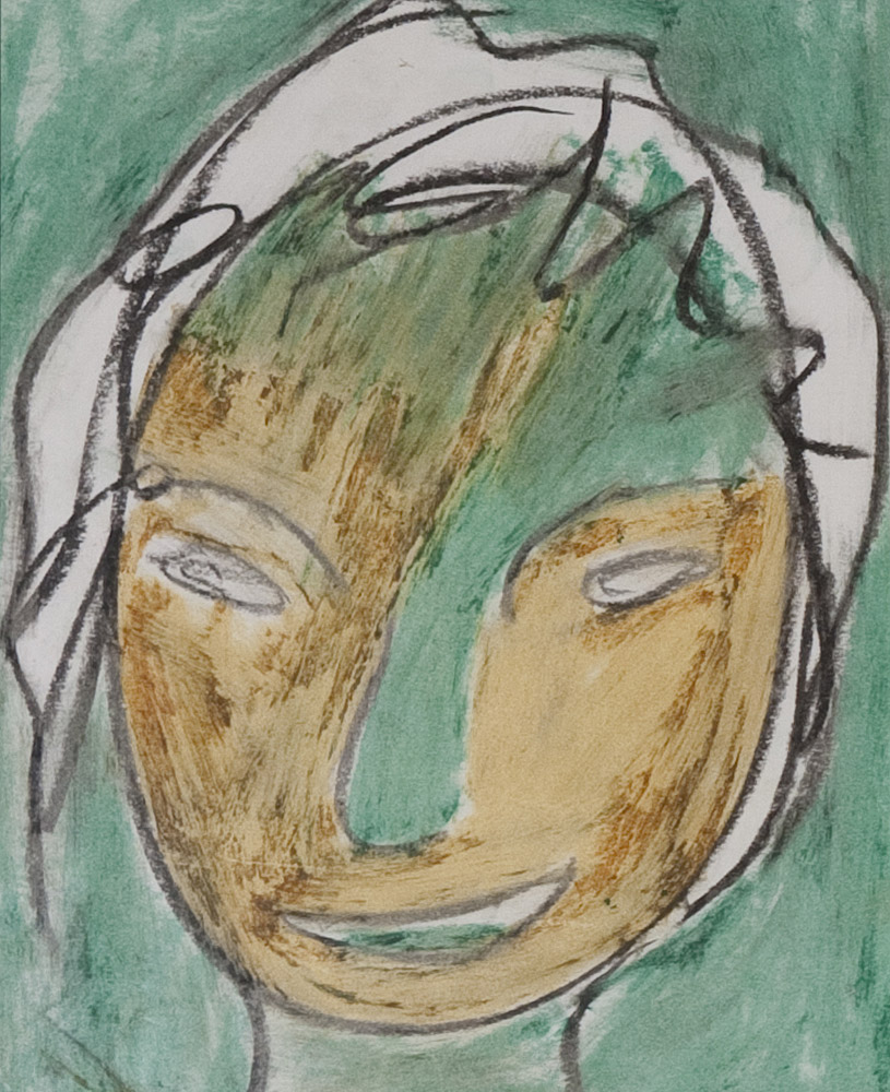 Gesichter 062-1 - 21x24 Ölkreide auf Papier