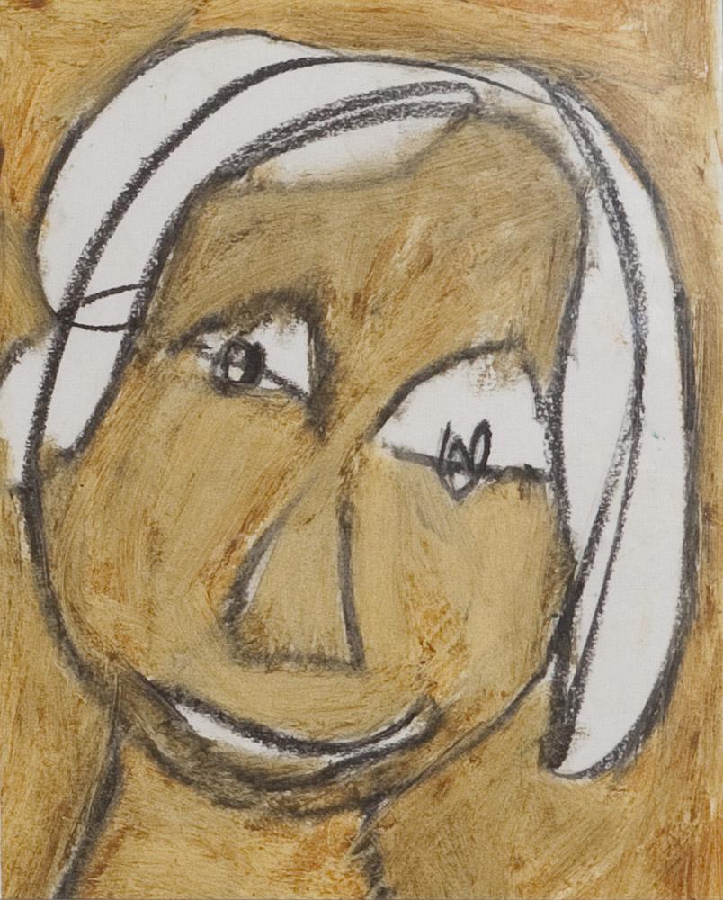 Gesichter 062-10 - 21x24 Ölkreide auf Papier
