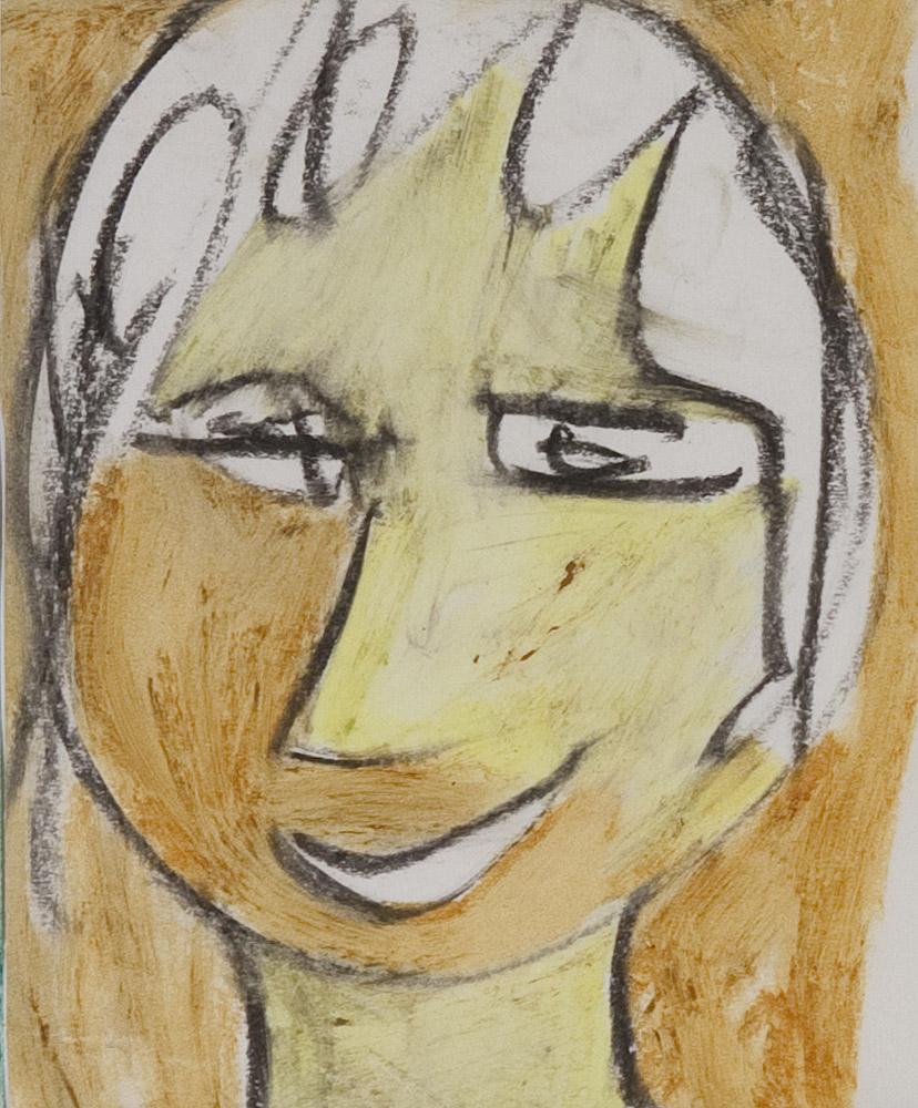 Gesichter 062-2 - 21x24 Ölkreide auf Papier