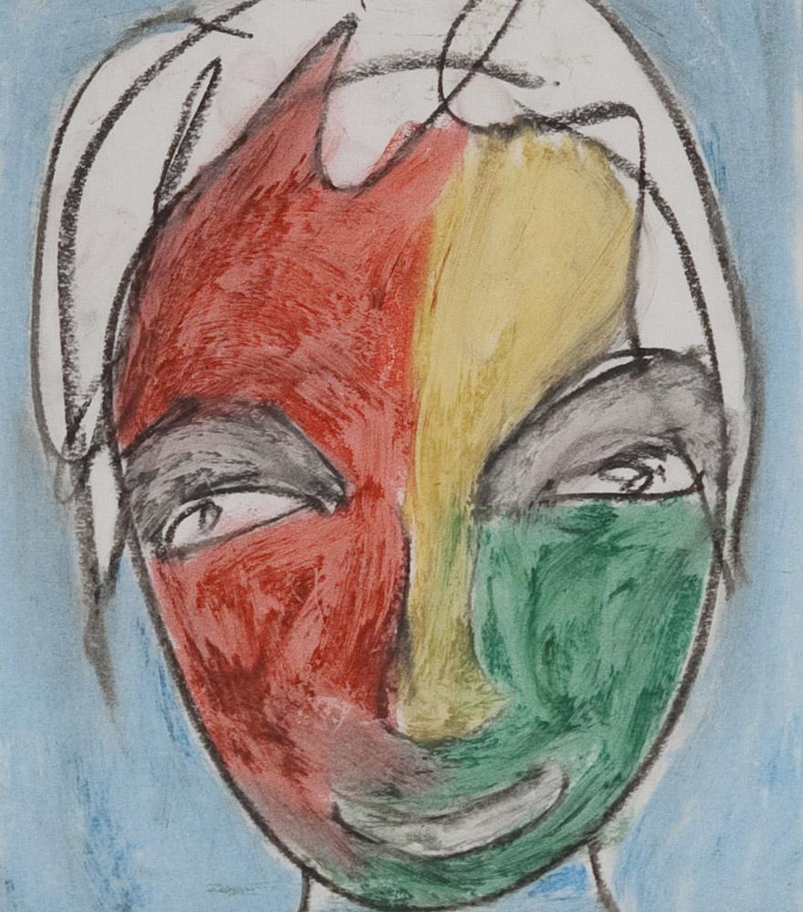 Gesichter 062-3 - 21x24 Ölkreide auf Papier