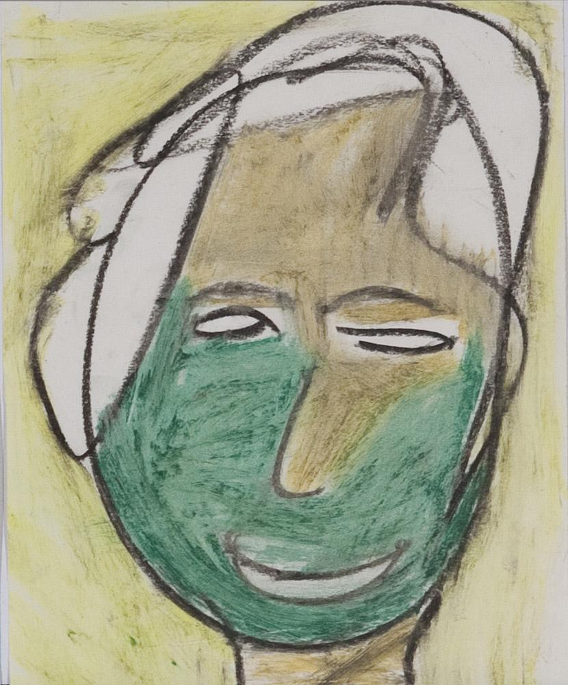 Gesichter 062-4 - 21x24 Ölkreide auf Papier